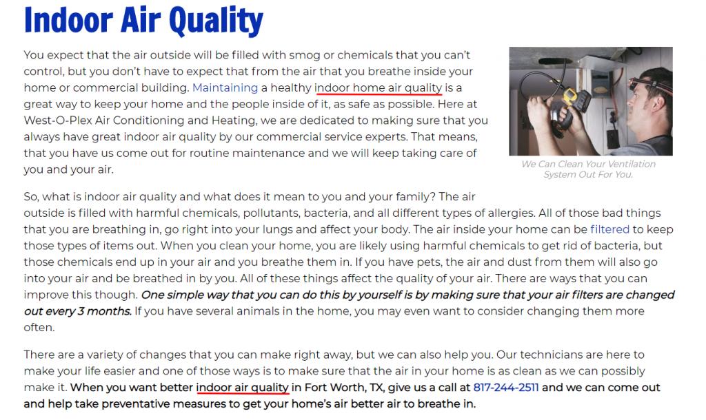 Air Quality Keyword Placement Screenshot