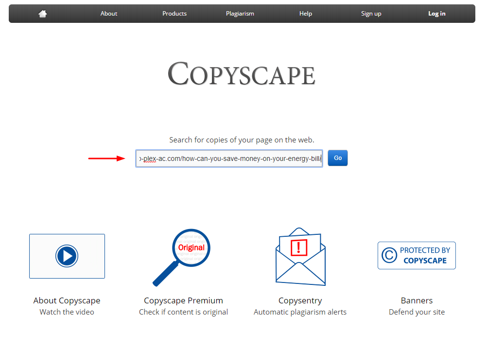 Copyscape Screenshot