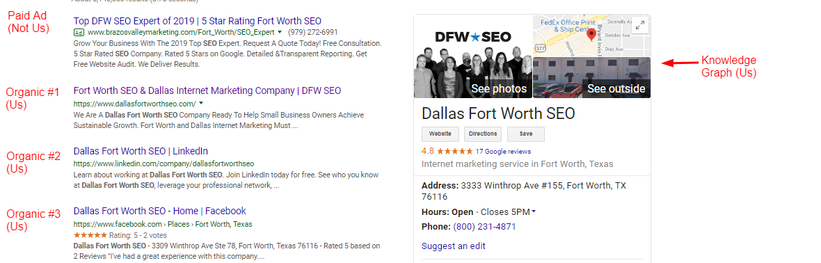 Dallas SEO SERP
