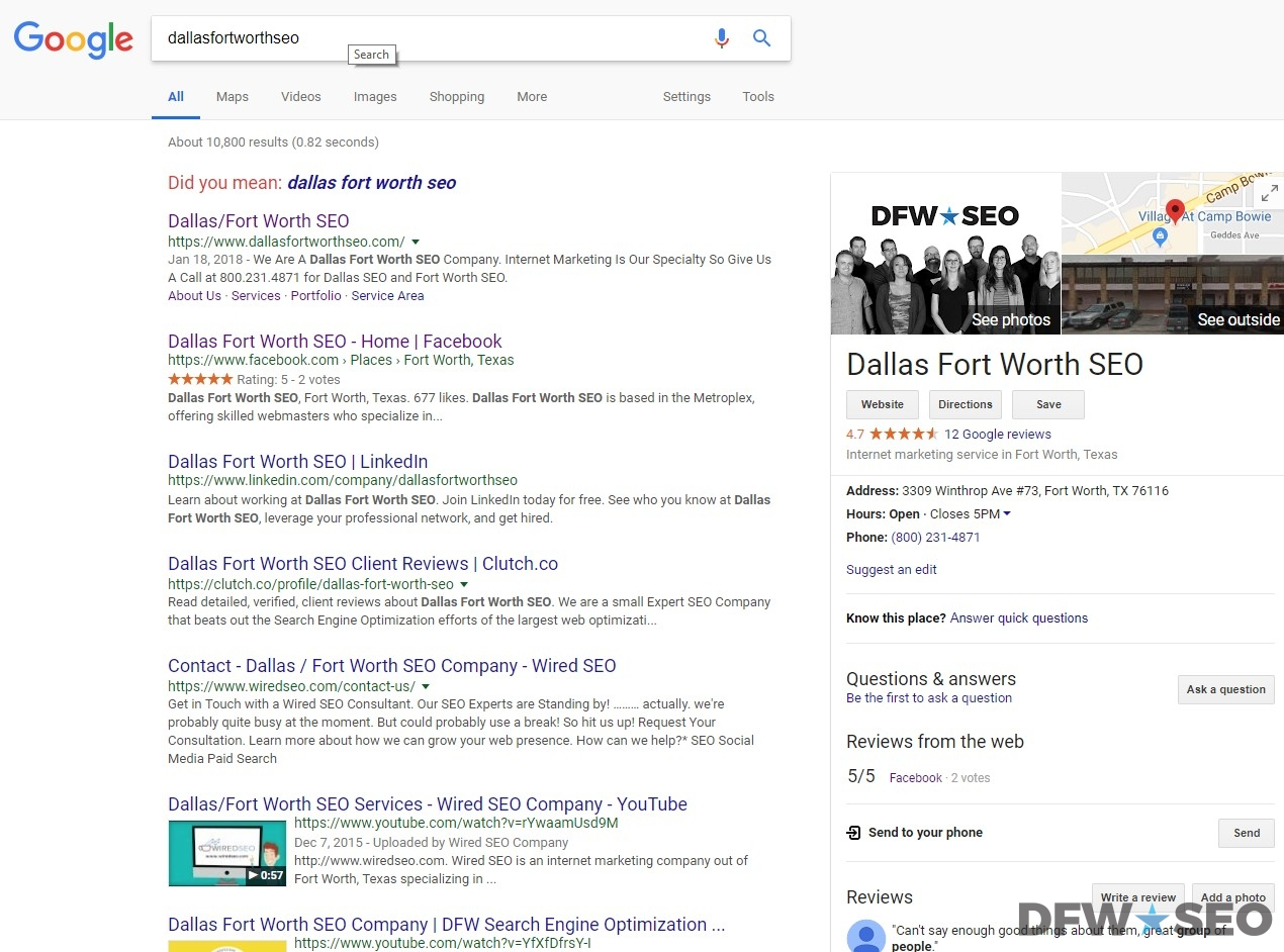 DFW SEO Index Screenshot