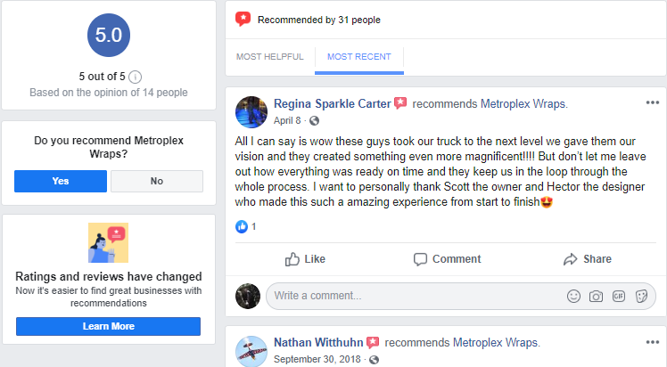 Facebook Business Reviews for a Vehicle Wrap Company