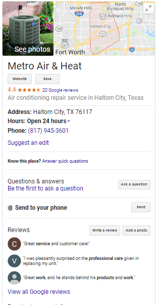 HVAC Google My Business Screenshot