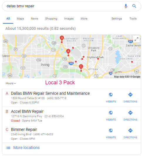 Local 3 Pack Dallas BMW Repair