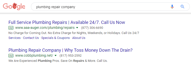 A Pair of Google Ads