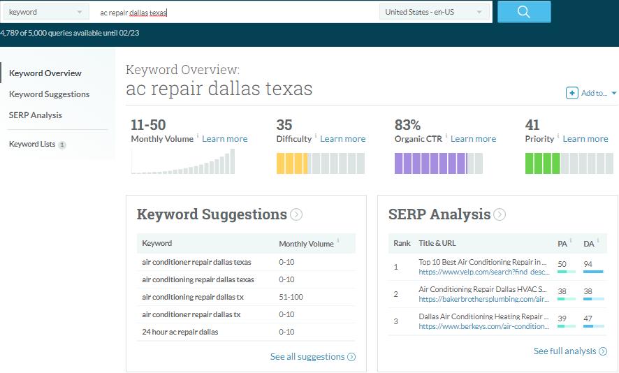 MOZ Keyword Explorer Screenshot