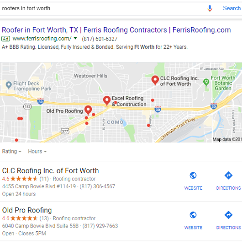 Local Search Marketing Results for Roofers