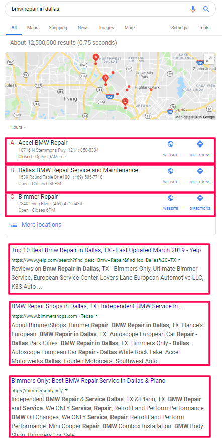 SERP Screenshot for BMW Repair in Dallas