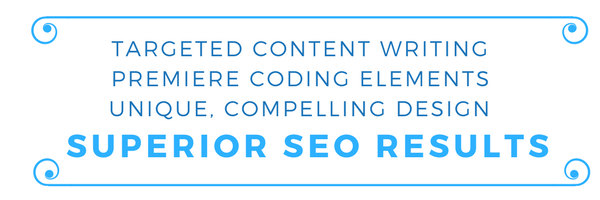 targeted content writing, premiere coding elements, compelling design, superior seo services