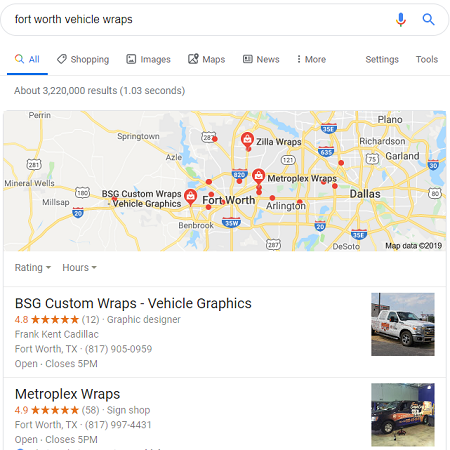 Local Search Listings Show Reviews