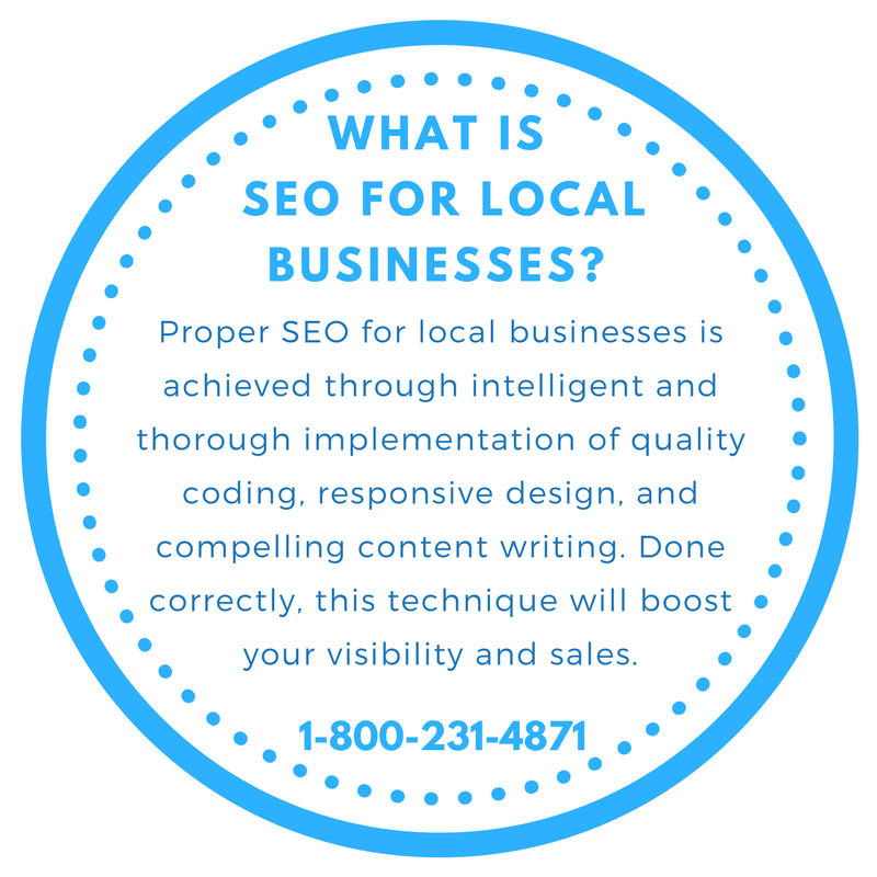 Proper SEO for local businesses is achieved through intelligent and thorough implementation of quality coding, responsive design, and compelling content writing. Done correctly, this technique will boost your visibility and sales.
